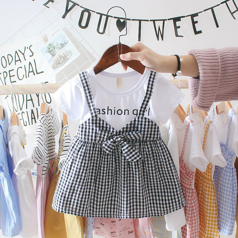 Summer Baby Girl Clothing 0-3Y Casual Toddler Newborn Baby Girls Dress Plaid Fake Two Piece Party Birthday Dress For Girls