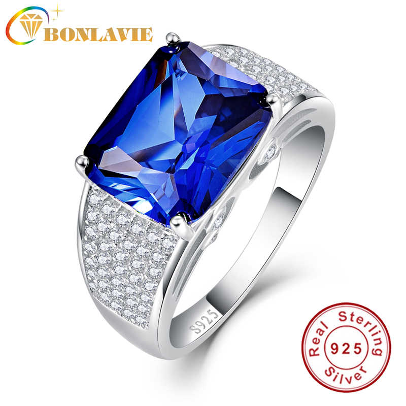 BONLAVIE 925 Sterling Silver 7.5CT Emerlad Cut Love Promise Rings Sapphire Blue Personalized Square Ring for Girlfriend Y0025R16
