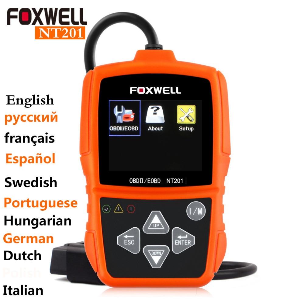 Prix pour NEW Original Universal auto diagnostic scanner Outils odb2 Foxwell NT201 obd2 scanner de voiture Mieux que elm 327 icar odb2 bluetooth