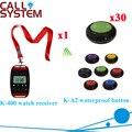 Drahtlosen Benennenden Service System Ycall Remote Kellner Uhr 2 tasten Glocke Anruf Transmitter Dhl freies Verschiffen (1 uhr + 30 ruftaste)-in Pager aus Handys & Telekommunikation bei
