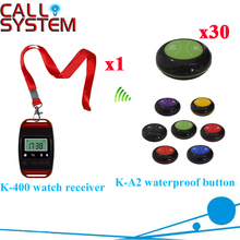 Wireless Calling Service System Ycall Remote Waiter Watch 2keys Bell Call Transmitter DHL Free Shipping(1 watch+30 call button)