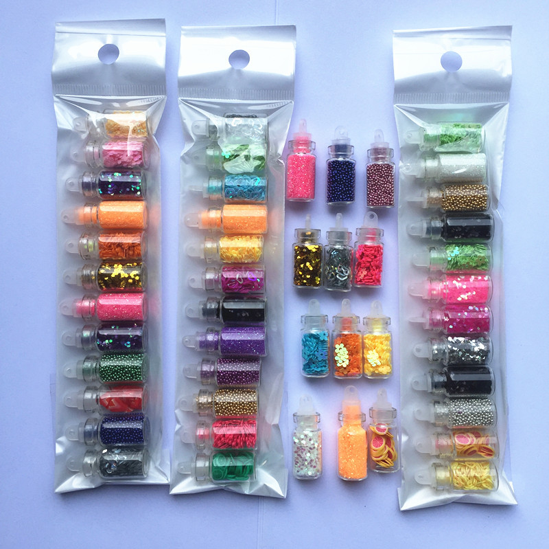 Perlen Confett Für Uv Gel Nagel Aufkleber ZuverläSsige Leistung Perlen 12 Zählen Set Von Glas Fee Flaschen Mit Kunststoff Kork Gefüllt Mit Gemischte Glitter