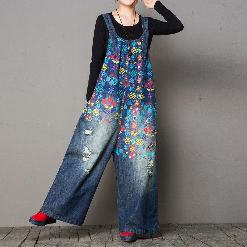 Denim Chaquetas para mujeres 2018 de moda Vintage impreso ancho de la pierna  de agujero RIP mamelucos monos Plus tamaño en Mono de La ropa de las mujeres  en ... 8ef8727564b8