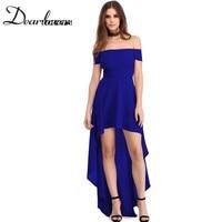 Dear Lover Summer 2017 Plus Size Formal Party Dress Blue High Low Hem Off Shoulder Women