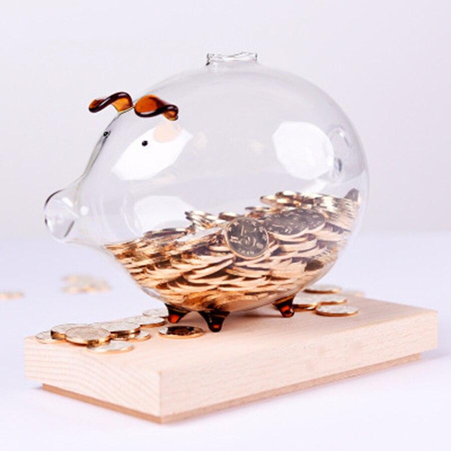 Artesanato Banco Piggy Porco Vidro Transparente Spaarpot Contador Contador Monedas Esconder Dinheiro Caixa De Dinheiro Piggy Bank For Kids 66