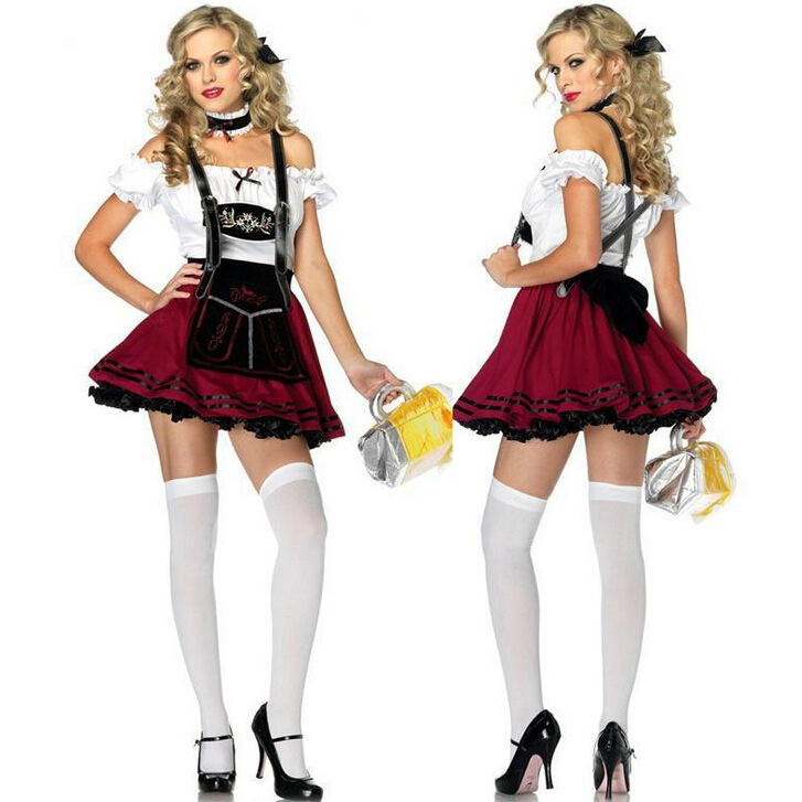 Womens German Traditional Dirndl Dress Oktoberfest Beer Maid