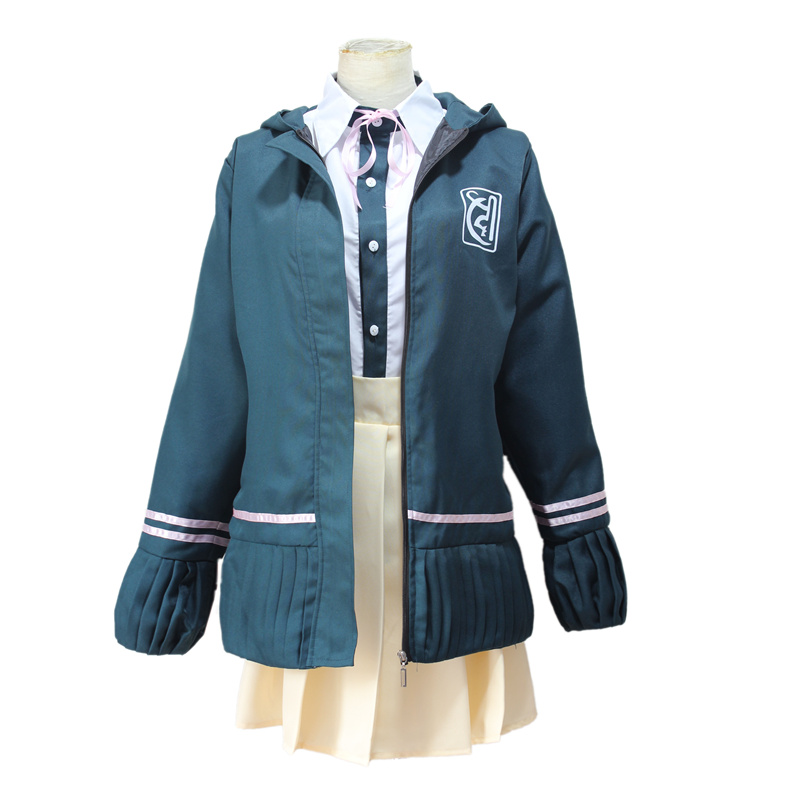 Super <font><b>DanganRonpa</b></font> 2 Dangan Ronpa Cosplay Chiaki Nanami Uniforms Jacket Shirt Tie Skirt For Women Cosplay Costume image
