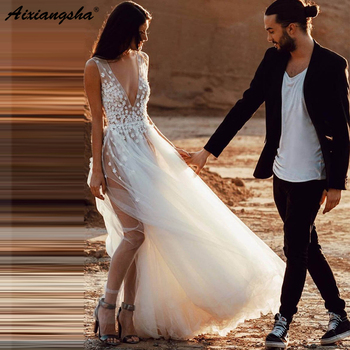 Sexy See Through Illusion Beach Wedding Dresses for Wedding Photograph abiti da sposa V Neck Tulle Bridal Dress with Slit
