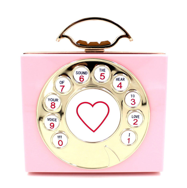Fashion Funny Cute Telephone Letters Evening Clutch Bags Women Heart Acrylic Party Hand Bag Candy Jelly Color Hard Pouch XA530H