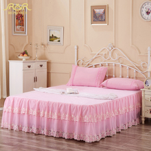 Romorus 2017 estilo de moda de verano de encaje rosa/beige/púrpura cama faldas de algodón colchas princesa hoja de cama completo con falda
