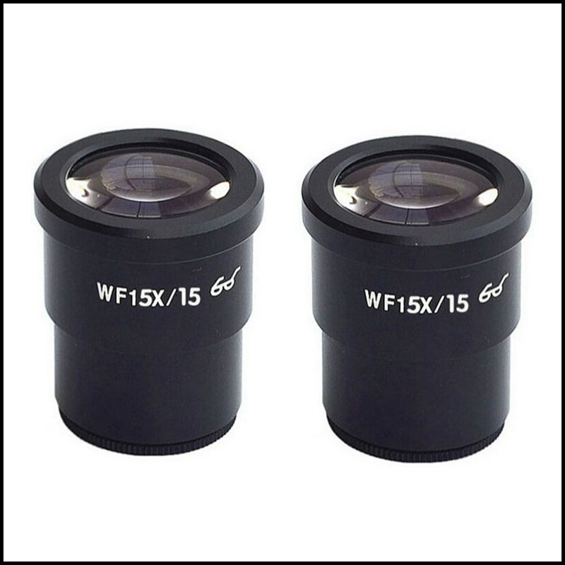 Free Shipping 2 Pieces WF15X Wide Field 15mm Stereo Microscope Eyepieces Mounting Size 30MM WF15X/15 Optical Glass [randomtext category=