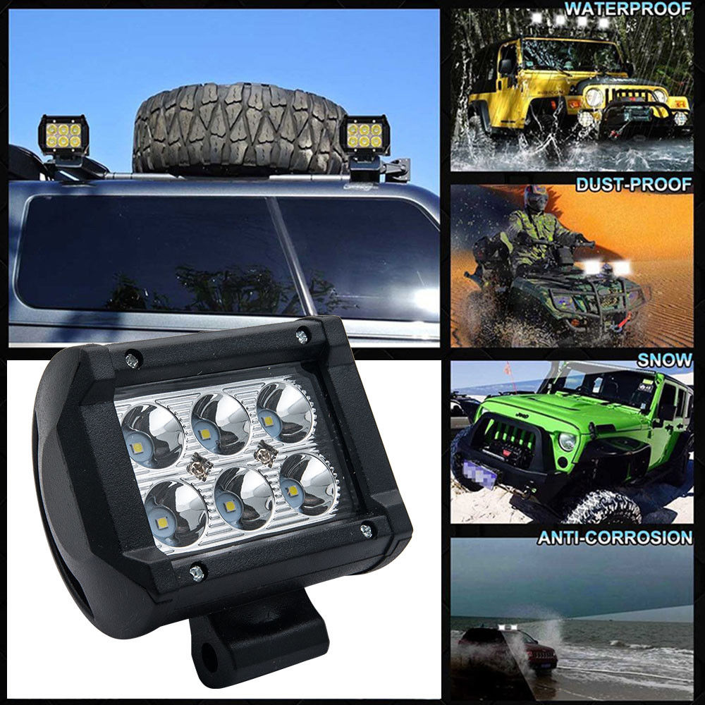 ECAHAYAKU 1Pcs Spot Beam 4Inch 12V Led work Light Bar 6000K 2400Lm Led Chip Auto Replacement Parts For Jeep 4x4 4WD ATU SUV boat in Light Bar Work Light from Automobiles Motorcycles