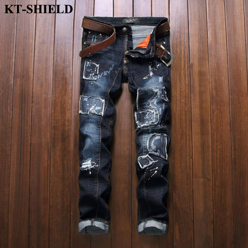ФОТО Hot Sale Fashion Ripped Jeans Men Blue Designer Straight Trousers Men Distressed Jeans Casual Male Harem Pants Vaqueros Hombre