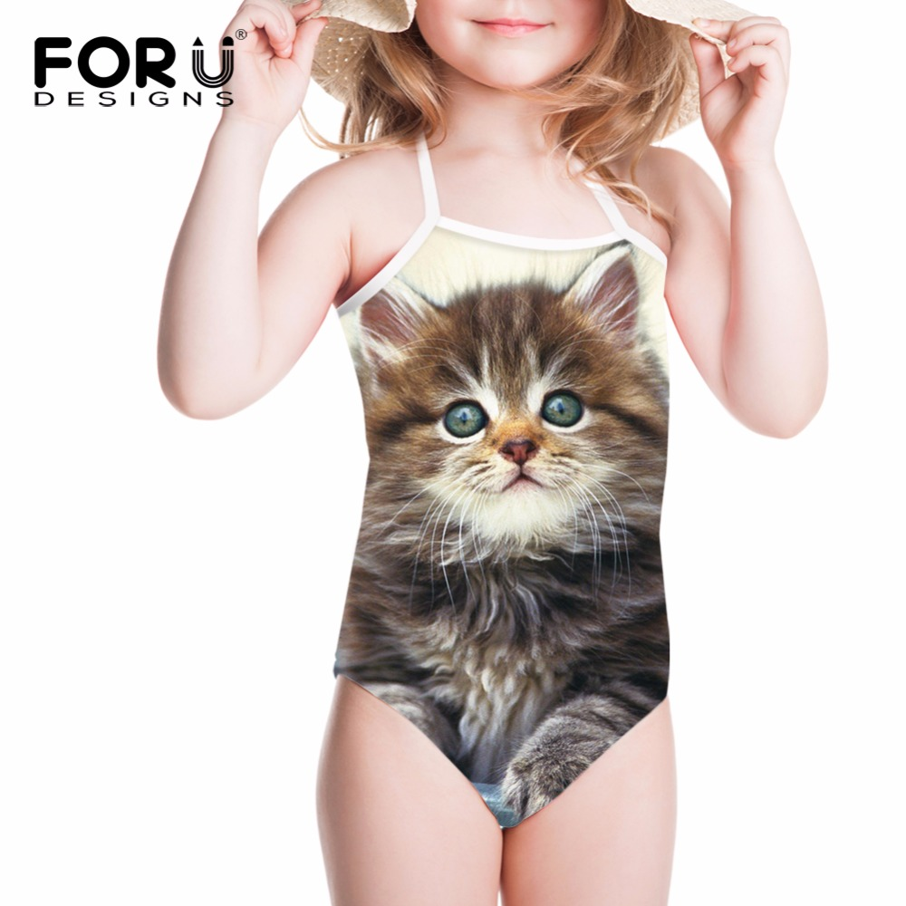 FORUDESIGNS One Piece Swimsuits for Girls Children Swimwear Cute Cat Printing Bathing Suits for Kids Baby Bikinis Swimming Suit