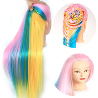 Colorful Doll Hair Professional Styling Head Female Manikin Synthetic Hair Free Cutting Hairdressing Training Mannequin Head
