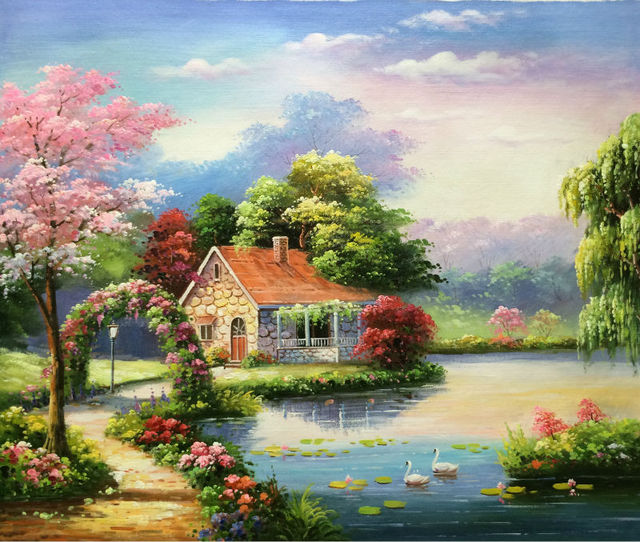 Hand Painted European Style Oil Canvas Painting Realist Forest House Landscape  Oil Painting Wall Art Picture - Hand Painted European Style Oil Canvas Painting Realist Forest House