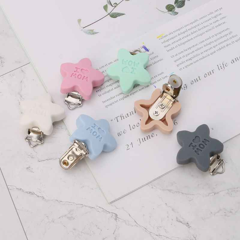 Baby Pacifier Clip Soother Teether Star Shape Silicone Safe Holder Saliva Towel Support Cute Clips Newborn Infant Feeding Suppli