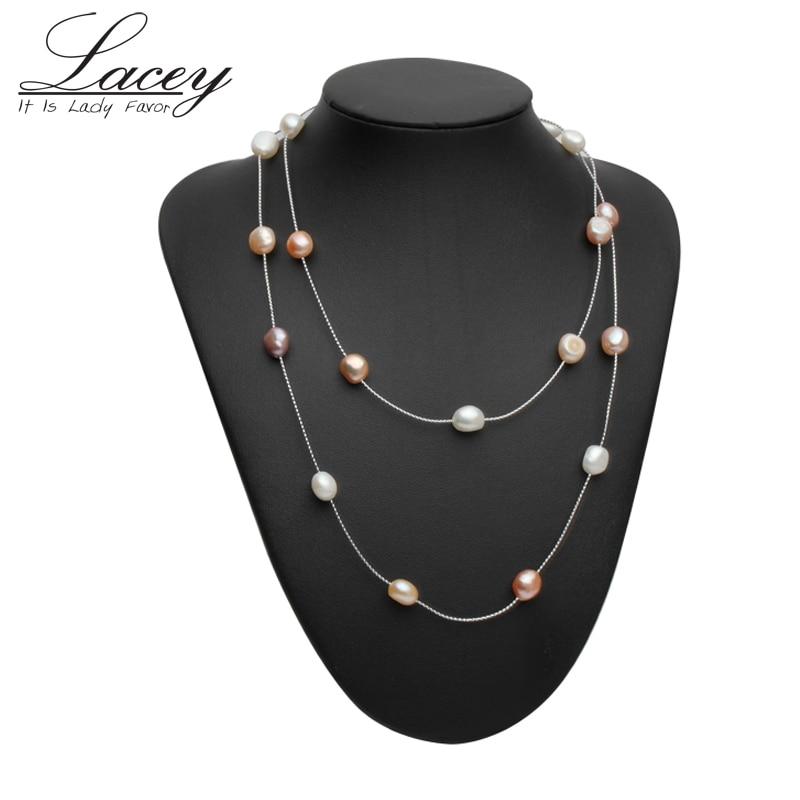 2019 Mode Echte Natürliche Perlenkette Kette, Süßwasser Perle Lange Halskette Schmuck Braut Perlen Halskette Für Frauen Weihnachtsgeschenke Moderater Preis