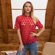 Embroidery Hollow Out Lace Flower Outfit Blouse Top Women Summer Mesh Transparent Shirt Short Sleeve Sexy See Through Tops 2018 недорго, оригинальная цена