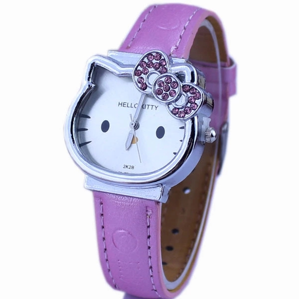 Fashionable cartoon high-end Hello Kitty drill KT cat dial belt quartz child girl student WatchFashionable cartoon high-end Hello Kitty drill KT cat dial belt quartz child girl student Watch