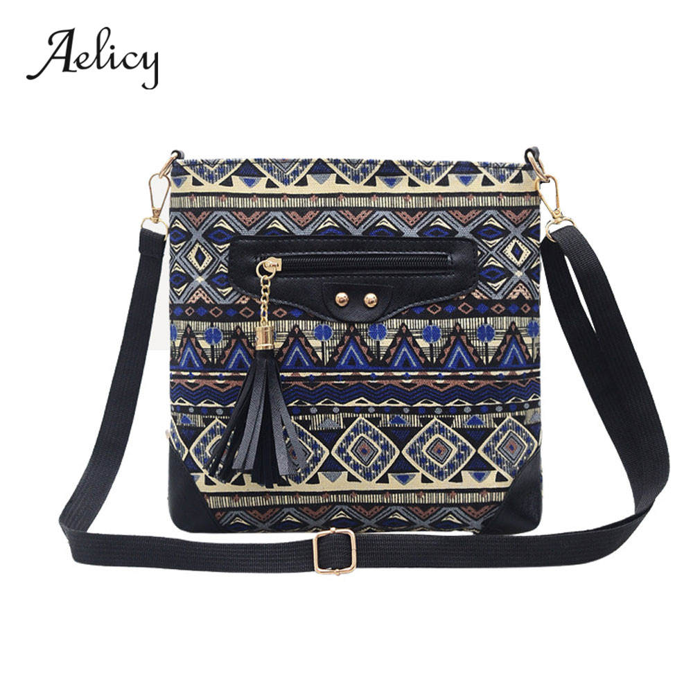 Aelicy Tassel National Shoulder Bags High Quality Canvas Wind Printing Bag Female Messenger Bag Women Vintage sac a mainAelicy Tassel National Shoulder Bags High Quality Canvas Wind Printing Bag Female Messenger Bag Women Vintage sac a main