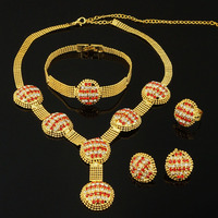India Women Necklace Gold Plated Jewelry Sets High Quaity African Big Jewelry Sets Wedding Jewelry Fine