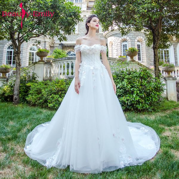 Beauty Emily Angel Luxury Pears White Wedding Dresses 2017