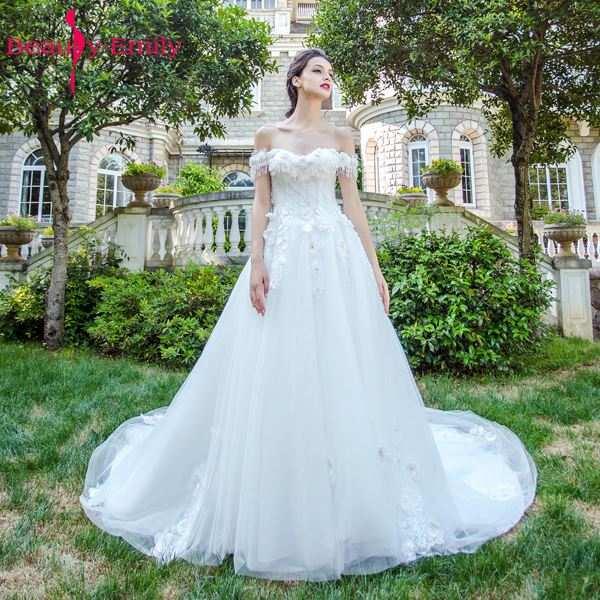 Online Shop Beauty Emily Angel Luxury Pears White Wedding Dresses 2017  A-line Chapel Train Fantasy Flowers Bride Dresses Gwons  62ff59fdb066