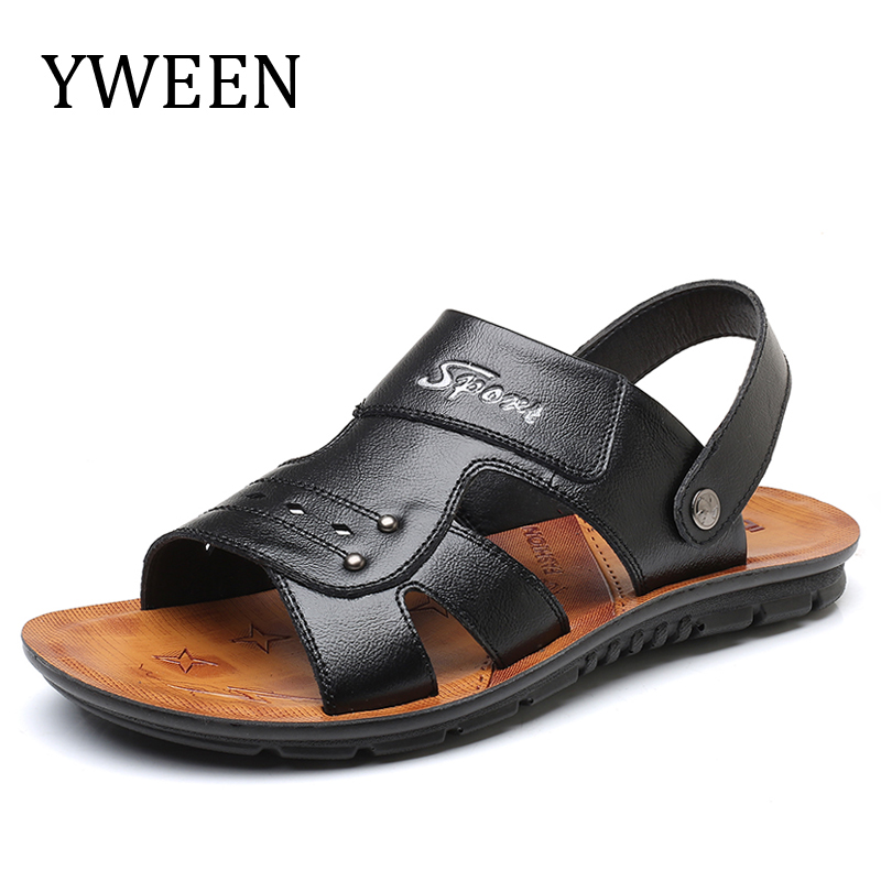 YWEEN Brand Men Sandals Split Leather Men Beach Sandals Men Casual Shoes Flip Flops Size 38-47