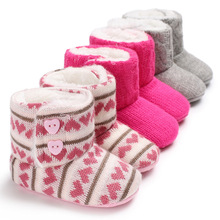 цены Hot 2019 Knitting Hand-made Bowknot Fleece Snow Boots For Baby Girl Boy Anti-silp Prewalker Booties Baby Shoes 0-18 Months