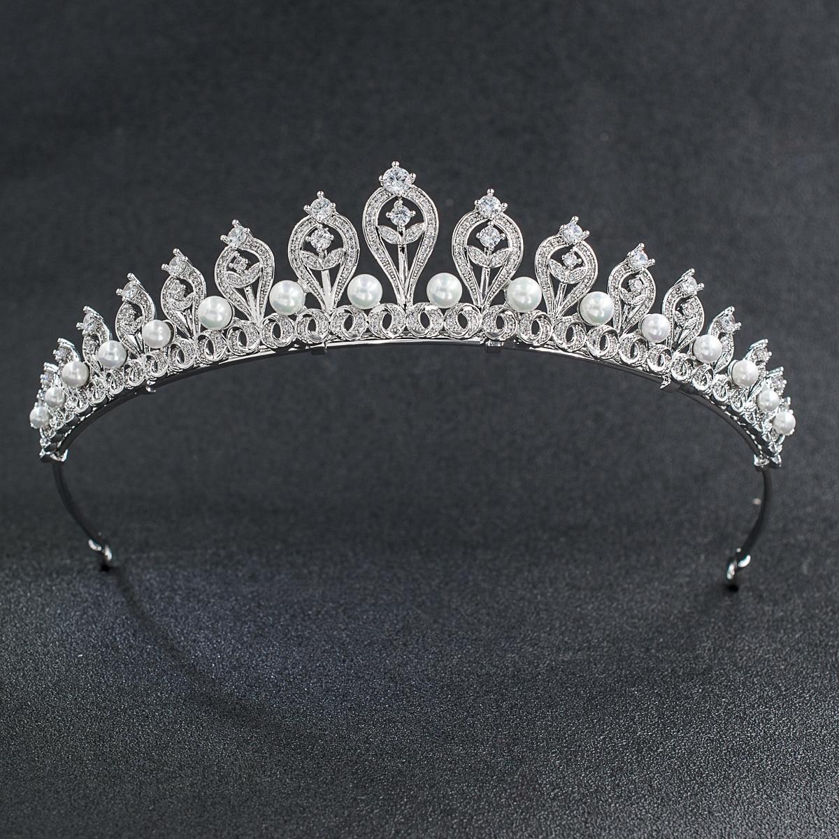 Klasyczny CZ cyrkonia Pearl ślubne Diadem dla panny młodej Diadem korona kobiety peruki imprezowe biżuteria akcesoria CH10109 w Biżuteria do włosów od Biżuteria i akcesoria na  Grupa 1
