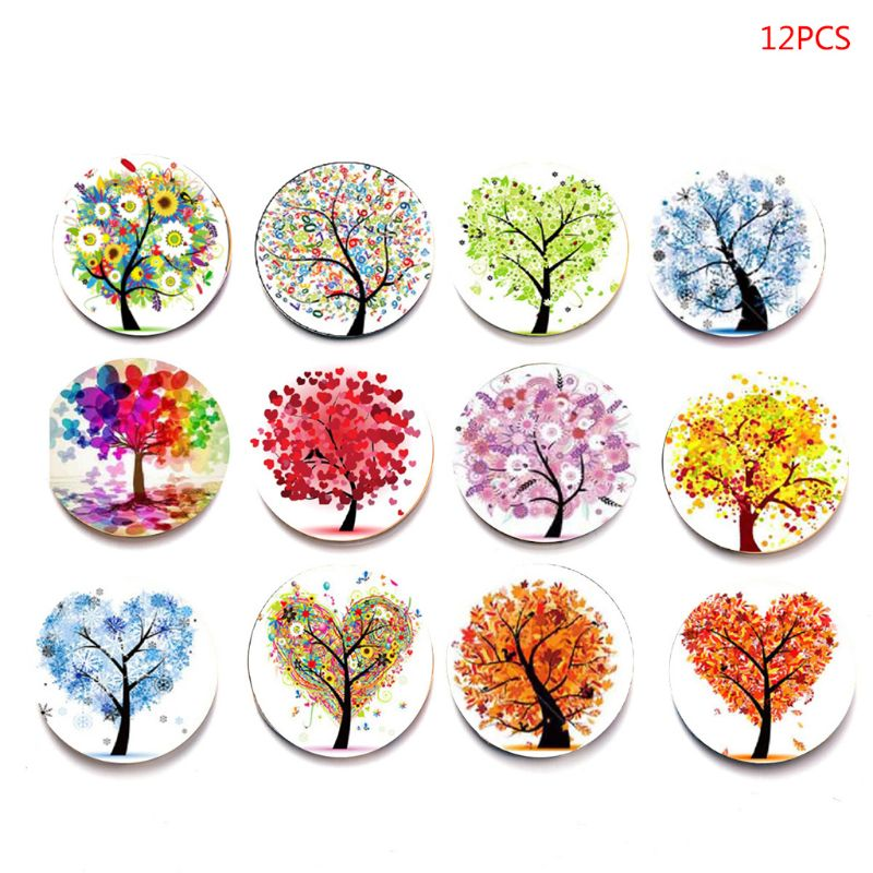 12 Pcs Tree Of Life Fridge Magic Magnet Refrigerator Stickers Home Decoration Glass Cabochon Whiteboard Sticker