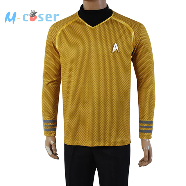 Star Trek Into Darkness Captain Kirk Shirt Uniform Cosplay Costume Yellow Version Size XS-XXXXL Men full set