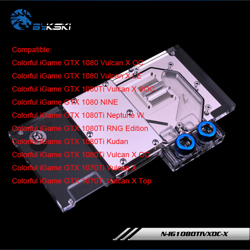 Geniune Bykski N-IG1080TIVXOC-X for Colorful iGame GTX 1080 Vulcan X OC /X LE GTX 1080Ti Vulcan X SOC Block RGB / RBW gpu cooler n titan x bykski gpu water cooler compatible for gtx titan x gtx 980ti x computer case watercooling block with controller