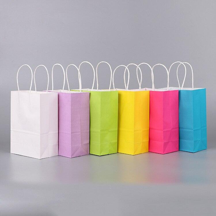 50 Pcs/lot sac en papier Kraft avec poignées 21*15*8 cm Festival cadeau sacs pour mariage bébé fête d'anniversaire