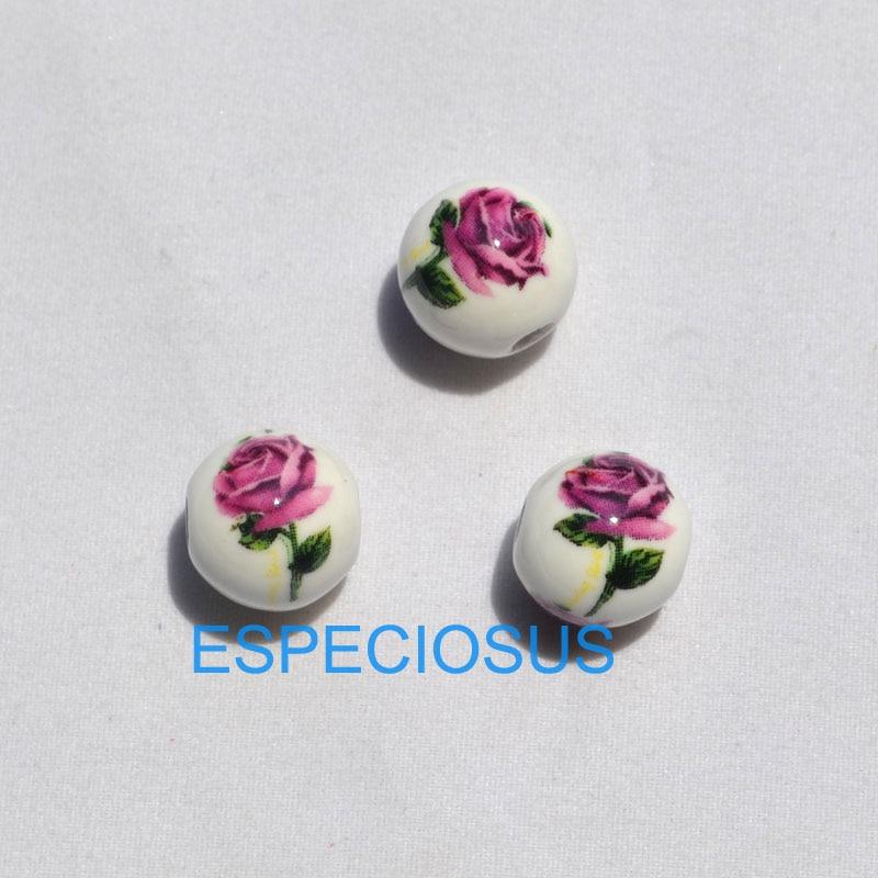 10 Stücke Diy Schmuck Zubehör 12mm Runde Form Keramik Perlen Weiß Farbe Rose Blume Gedruckt Armband Handwerk, Der Abteilungen