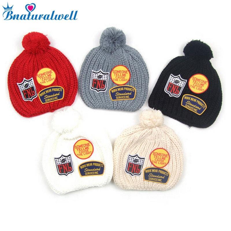 Bnaturalwell Boys Girls Crochet Cap Children Winter Knitted Hat Kids Beanie Baby Line Caps Manual Caps Photography Props H118