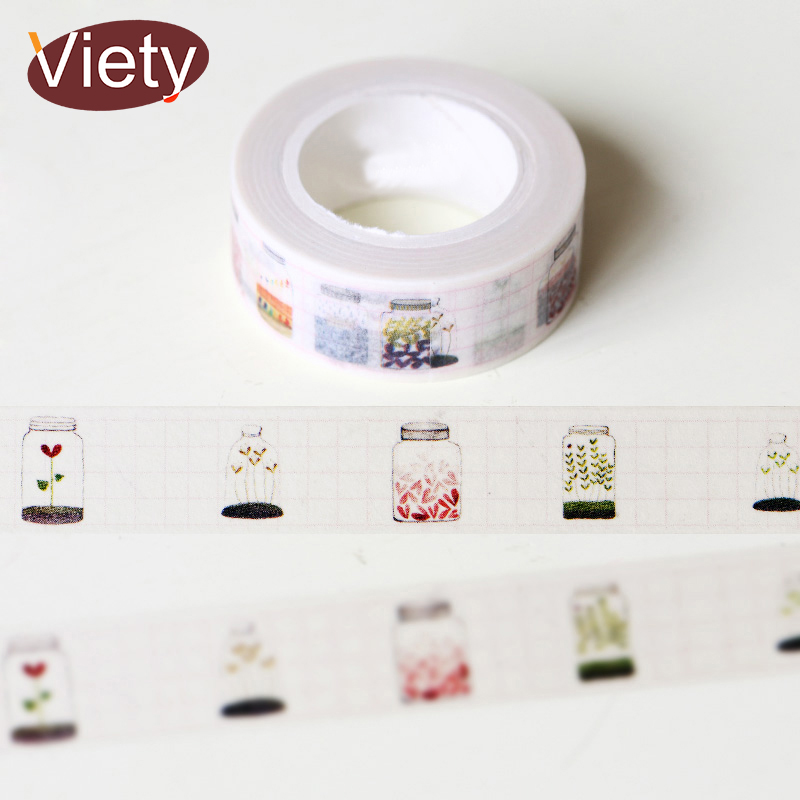 1.5*10m Glass Bottle Washi Tape DIY Decoration Scrapbooking Planner Masking Tape Adhesive Tape Kawaii Stationery
