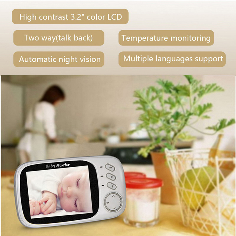 Image 2 - Wireless Baby Monitor VB603 3.2 Inch Electronic Babysitter Radio Video Baby Camera With Night Vision Temperature Monitoring-in Baby Monitors from Security & Protection