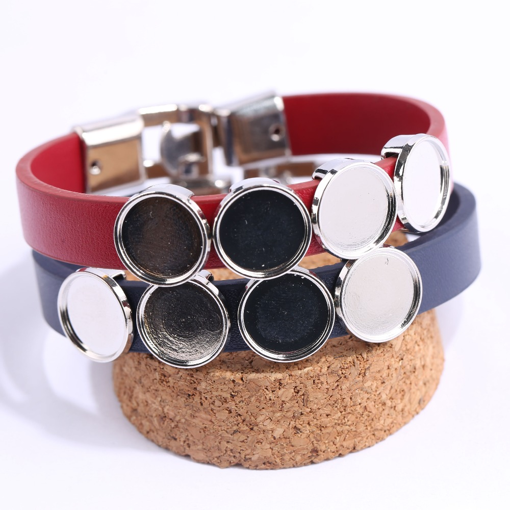 Onwear 5 pcs fit 12mm rodada pulseira cabochon base de blanks bandejas moldura diy pulseiras de couro liso para fazer jóias achados