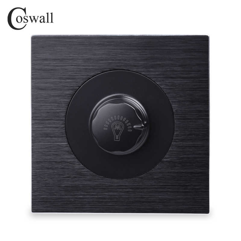 Coswall Luxurious Dimmer Switch Lamp Controller Wall Knob Switch Knight Black Aluminum Brushed Metal Panel 500W Maximum