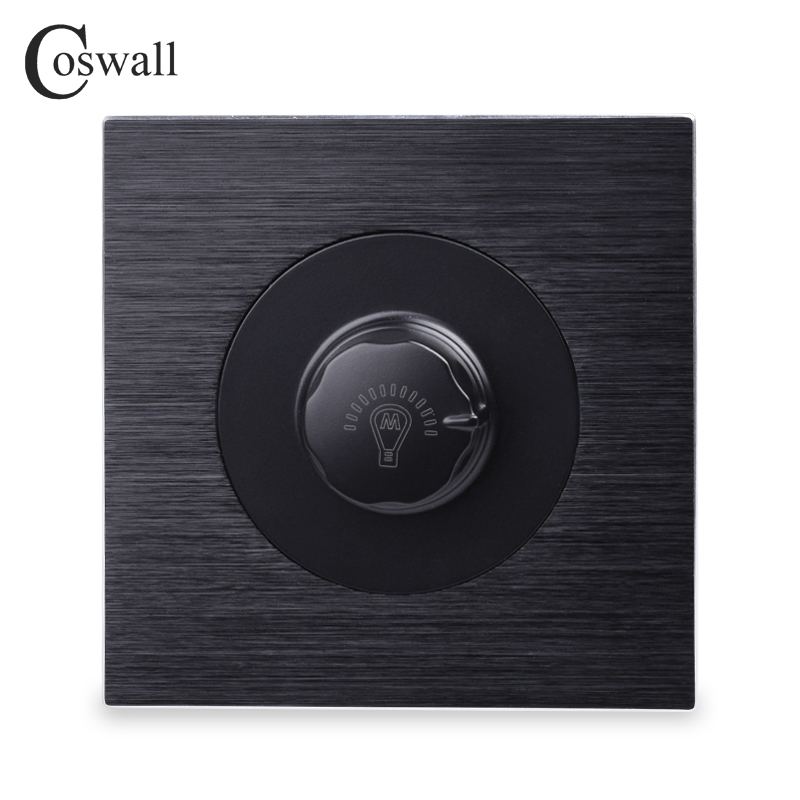 Coswall Luxurious Dimmer Switch Lamp Controller Wall Knob Switch Knight Black Aluminum Brushed Metal Panel 500W Maximum ltech da6 wall mount knob panel dali dimmer controller on off switch 64 single address 16 group address and broadcast address