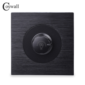Coswall Sang Trọng Dimmer Chuyển Đổi Đèn Điều Khiển Wall Chuyển Đổi Núm Hiệp Sĩ Đen Nhôm Brushed Kim Loại Bảng Điều Chỉnh 500 W Tối Đa