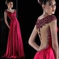 Luxo Cristal Vermelho Escuro de Cetim Longo do Baile de finalistas 2017 Vestidos de Robe de soirée beading da luva do tampão com decote em v longo prom dress vestido de noite desgaste
