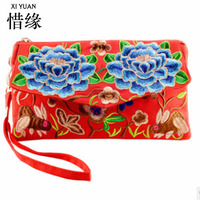 XIYUAN BRAND Chinese High Quality And Fashion Dual Use Vintage Canvas National Ethnic Embroidered Messenger Clutch