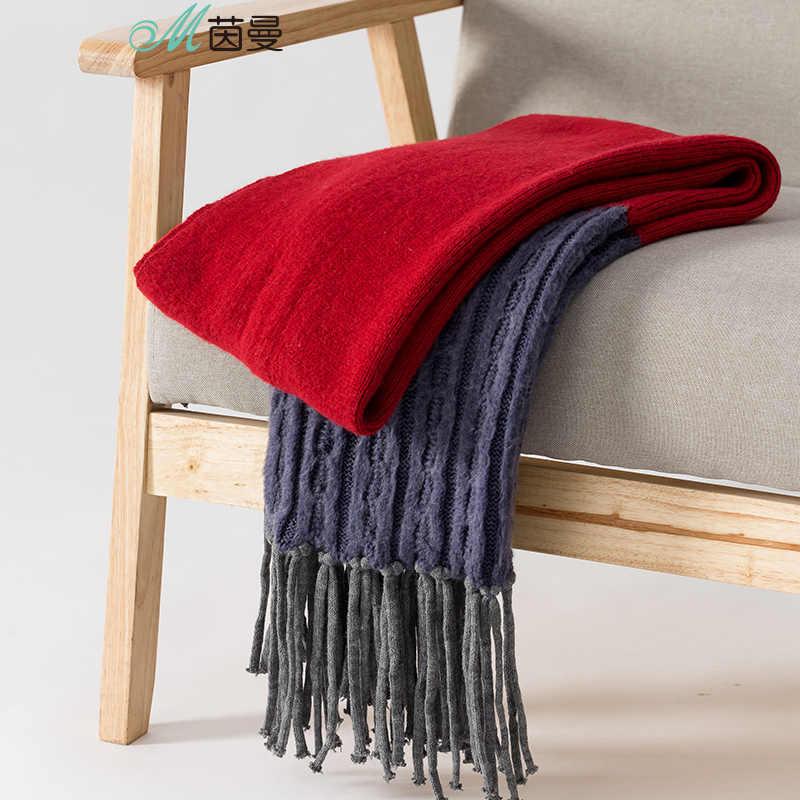 をインマン秋冬新着ウール厚いコントラスト色パッチワークの房のスカーフ