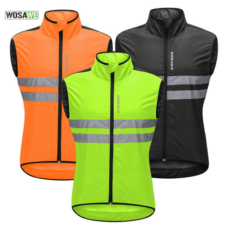 WOSAWE Reflective Cycling Vest Windproof Running Safety Vest Motorcycle Cycle MTB Riding Bike Bicycle Clothing Sleeveless Jacket Cycling Vest     - title=