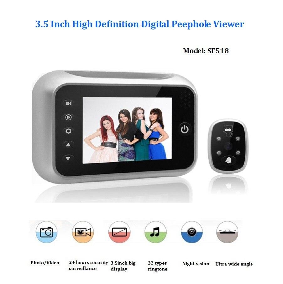 ФОТО Hot 3.5inch wireless door peephole camera 32 Rings IR Night vision 3X Zoom Photos taking+Video recording visual monitor puerta