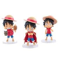 One Piece Cute Luffy 3 pcs/set 48 Q version PVC Action Figure Model Toys 12cm Best Birthday Gift For Friend Kids WX224
