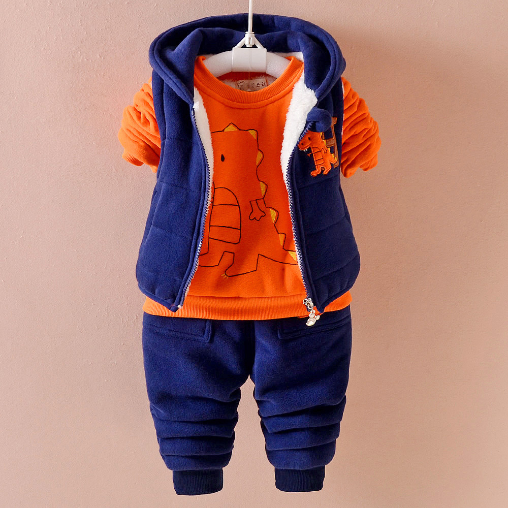 2018 winter baby clothes sets thick Keep warm fashion cotton Dinosaur boy girl Plus thick velvet 3PCS kid clothes suits clothing baby girl clothes baby winter suit spring and autumn warm baby boy clothes newborn fashion cotton clothes two sets of underwear